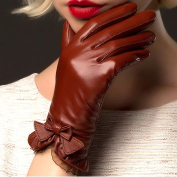 BOOUNI Genuine Sheepskin Gloves 2017 Fashion Wrist Lace Bow Solid Women Leather Glove Thermal Winter Driving Keep Warm 176