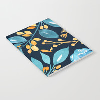Teal and Golden Floral Notebook by noondaydesign