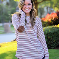 POP of Color Striped Top-Burgundy
