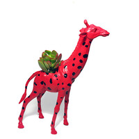 Up-cycled Red Giraffe Animal Planter