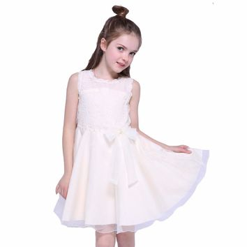 Girls Princess Dresses Summer Sleeveless Lace Ball Grown Wedding Dresses for Children Party Clothes