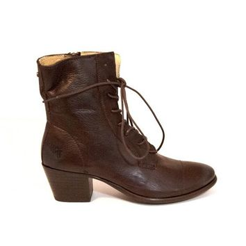 Frye Boot Courtney Lace - Dark Brown Leather Mid-Heel Boot