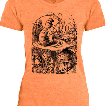 Big Texas Alice in Wonderland - The Smoking Caterpillar (Black) Womens Fine Jersey T-Shirt