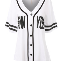 Womens Oversized Button Down Short Sleeve Baseball  Shirt