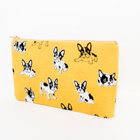 Gold Bulldog Pouch, Zipper Pouch, Fabric Pouch, Pencil Pouch, Cosmetic Pouch, Coin Purse, Change Pouch, Zipper Case, Dog Pouch, Pouch