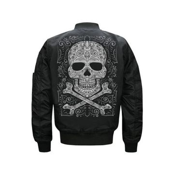 Skull Print Thick Bomber Jacket for Men USA Size:XS-5XL