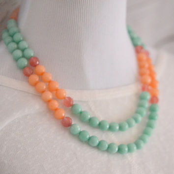 Double Strand Statement Necklace with Aqua and Peach Jade and Cherry Quartz Stones.  Peach and Aqua Necklace. Chunky Strand Fashion Jewelry.