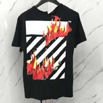 OFF-WHITE 18SS early spring new Sparks original irregular cut men and women T-shirt F-CN-CFPFGYS