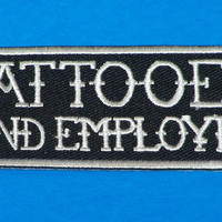 Tattooed White on Black Small Badge Iron on Patch for Biker Vest SB1065