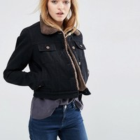 ASOS Denim Cropped Jacket in Black with Borg