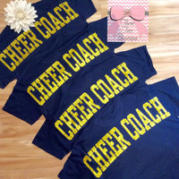 Cheer Monogram T-Shirt Oversized Text Cheer Coach Shirt Glitter Cheer Mom Monogram TShirt Over Sized Text TShirt Monogrammed Gifts