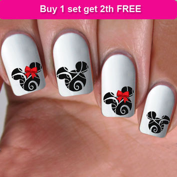 buy 1 get 1 free, 60 NAIL DECALS, minnie red bow, Nail Art,  Water Slide Decals Nail,Nail Art design, Nail Transfers,Tattoos, DS9
