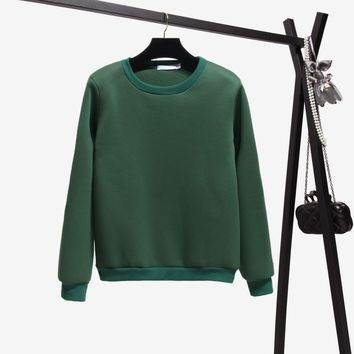Autumn And Winter Fashion Candy Six-color Girl Style Casual Hoodie 2018 Round Neck Solid Color Loose Long-sleeved Sweatshirt Top