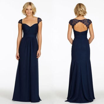 Cheap Long Navy Blue Mother Of The Bride Dresses Elegant Formal Sweetheart Lace Cap Sleeve Chiffon Backless Wedding Gown Dress Mq 10085