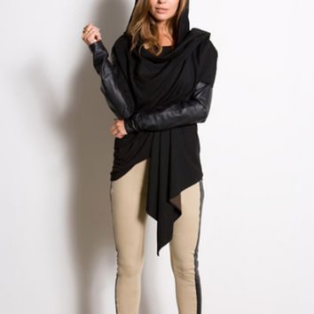 Scarlett Hooded Leather Sleeved Shrug
