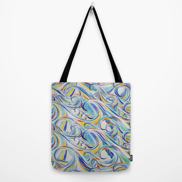 """Watercolor Waves Tote Bag - choice of size 13"""", 16"""" or 18"""" square tote bag with stormy ocean watercolor painting"""