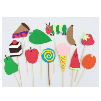 The Very Hungry Caterpillar Birthday Photo Booth Props ; First Birthday Decorations ; Photobooth Props