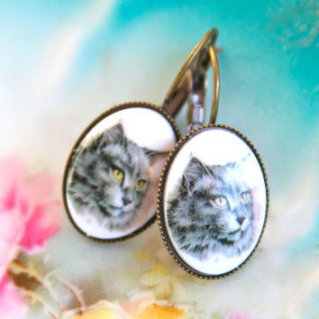 Vintage Gray Cat Cameo Antique Brass Leverback White Oval Dangle Drop Earrings - Cat Lover, Animal Lover