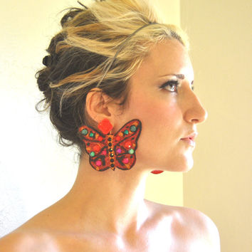 Red Jewel Tone Butterfly Earrings in Eco Felt with Rainbow Rhinestones and Glitter