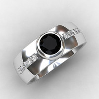 Black diamond wedding band, White gold, diamond ring, modern, bezel, gothic ring, black diamond, mens wedding ring, men diamond ring