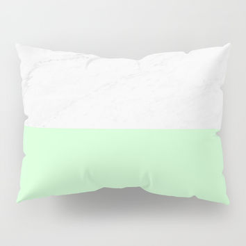 Marble And Mint Pillow Sham by ARTbyJWP