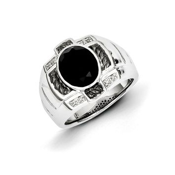 Oval Black Onyx & Diamond Two Tone Sterling Silver Tapered Ring