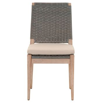 Wooden Dining Armless Chair With Padded Seat In Gray And Brown, Set of 2