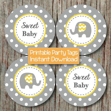 Baby Shower Cupcake Toppers Yellow Grey Elephant Printable Party Favor Tags Supplies Sweet Baby INSTANT DOWNLOAD diy Printable Boy Girl 003A