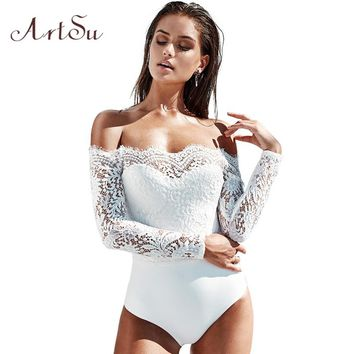 ArtSu Women Fashion Lace Bodysuit Sexy Body Off Shoulder Overalls Long Sleeve Party Playsuits Romper Jumpsuit ASJU30251