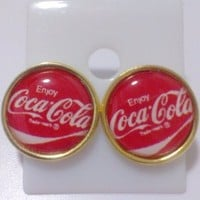 New Earring Stud Coca Cola Coke Cute Collectible Free Shipping #3