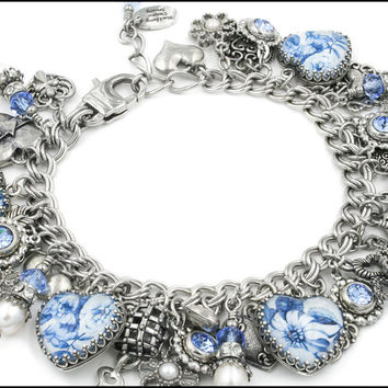 Blue Willow, Charm Bracelet, Heart Bracelet, Blue Broken Plate Image, Broken China Image, Inspired Broken China Jewelry