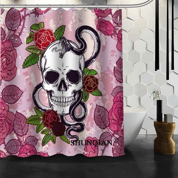 Skull Shower Curtain Waterproof Polyester Fabric Curtain For Bathroom
