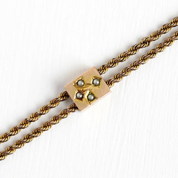 Antique Rosy Yellow Gold Filled Seed Pearl Slide Charm Necklace - Vintage Victorian Fob Pocket Watch Chain Long Layer Flower Pendant Jewelry