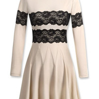 White Lace Panel Long Sleeve Pleated Dress