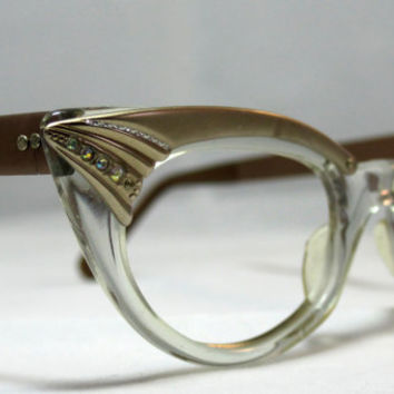 Vintage Cat Eye Glasses Pointy Copper and by CollectableSpectacle