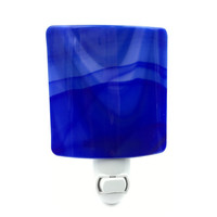 Night Light, Royal Blue Stained Glass Shade