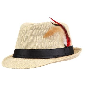 Xthree Trendy Unisex Side with feathers Fedora Trilby  Cap For Women Summer Beach Sun Straw Panama Hat Men Fashion Hats