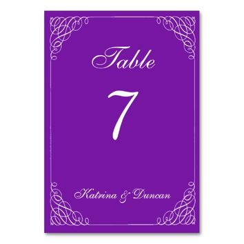 Elegant Swirl Purple Personalized Table Card