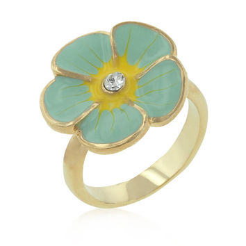18k Gold Plated Light Green Enamel Flower CZ Ring