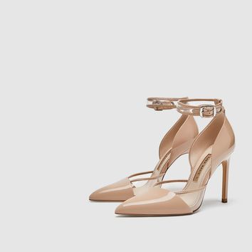 HIGH-HEEL COURT SHOES WITH ANKLE STRAP DETAILS