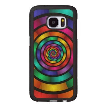 Round and Psychedelic Colorful Modern Fractal Art Wood Samsung Galaxy S7 Case