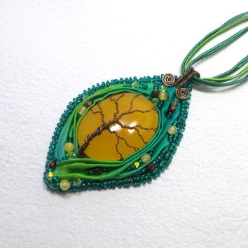 Tree of Life Pendant Necklace With Shibori silk ribbon, Copper Wire Wrapped Jewelry, OOAK Bead Embroidery
