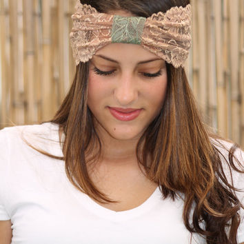Beige Headband, Lace headband, Boho chic, Elastic Headband, Wide light Brown Headband, Turban Head Wrap, Women Hair Accessories, Headbands