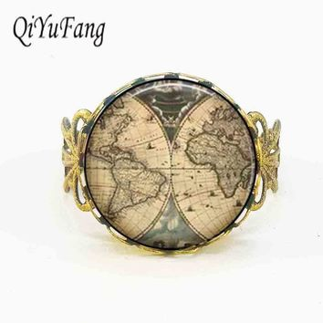 Movie Alice in Wonderland Ancient World Map explorer Map Pirate treasure map Expedition ring Jewelry silver bronze rings globe