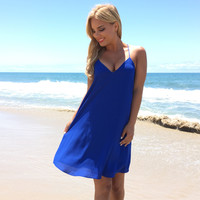 Summer Binge Shift Dress In Royal Blue