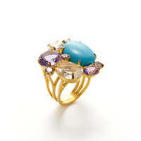 Turquoise Cluster Ring by Bounkit at Gilt