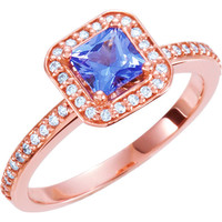 14kt Rose 1/5 CTW Diamond & Tanzanite Halo-Styled Engagement Ring