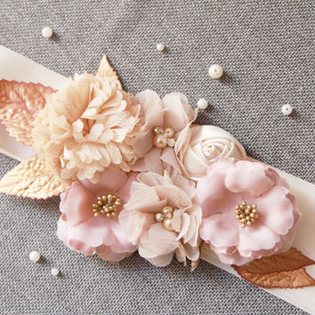 Bridal Sash Belt - Fall Autumn Wedding Dress Sashes Belts - Posh Double Sided Ribbon Tan Harvest Gold Nude Taupe Cream Khaki Mixed Flowers