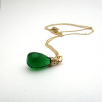Emerald green quartz necklace, kelly green pendant, grass green necklace, may birthstone necklace, gold fill wire wrappped pendant
