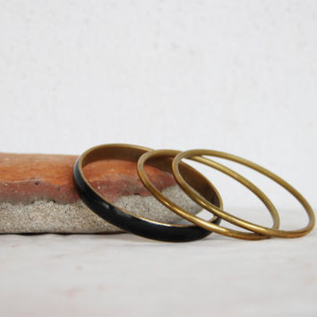 Vintage brass bangles, set of three brass bangles, wide black bangle and two thin, golden, classic bangles, boho bangles, early eighties